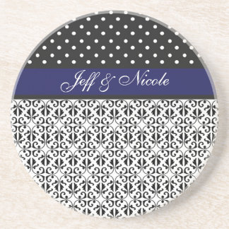 Floral & Polka Dots in Navy Blue Custom Drink Coasters