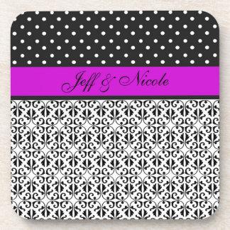 Floral & Polka Dots in Purple Custom Coaster