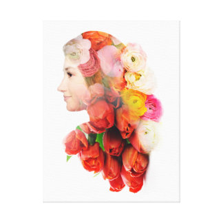Floral portrait canvas print