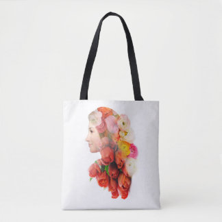 Floral portrait tote bag