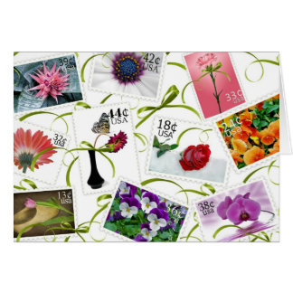 Floral Postage Note Card