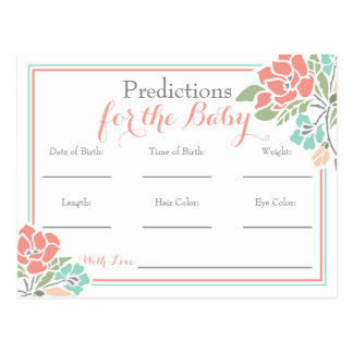 Floral Predictions for Baby Shower, Coral Teal Postcard