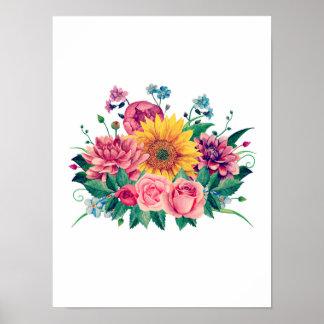 Floral print Boho wall art Flowers bouquet garden