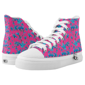 Floral Print High Top Shoes Printed Shoes
