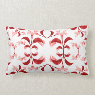 Floral Print Modern Pattern in Red and White Tones Lumbar Cushion
