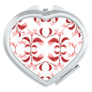 Floral Print Modern Pattern in Red and White Tones Makeup Mirror