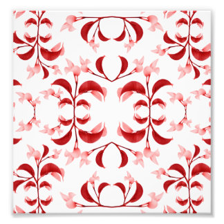 Floral Print Modern Pattern in Red and White Tones Photo Art
