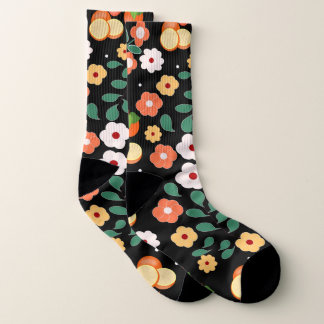 Floral printing of fruits and flowers socks