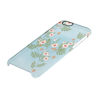 floral printing with blue bottom clear iPhone 6/6S case