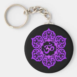 Floral Purple and Black Aum Design Keychains