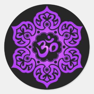 Floral Purple and Black Aum Design Round Sticker