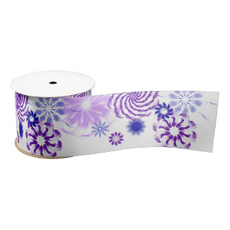 Floral Purple and Blue Wide Ribbon Satin Ribbon