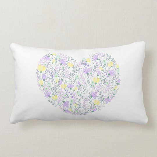 Floral Purple And Yellow Flowers Heart Love Lumbar Cushion