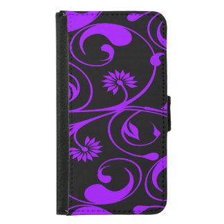 Floral purple black daisy swirl