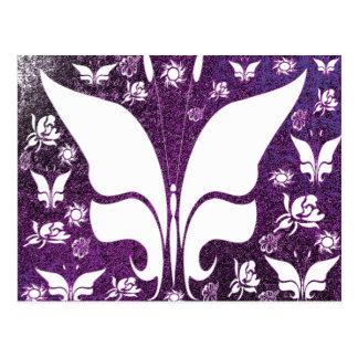Floral Purple Butterflies Postcard