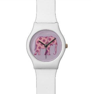 Floral Purple Cartoon Elephant Chic Girly White Watch