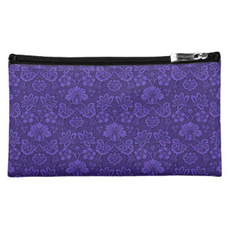 Floral purple decoration makeup bag