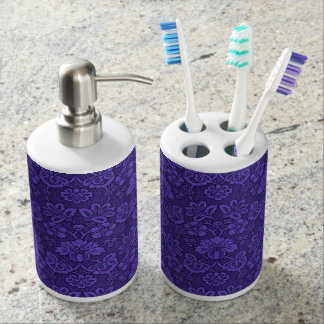 Floral purple decoration soap dispenser and toothbrush holder