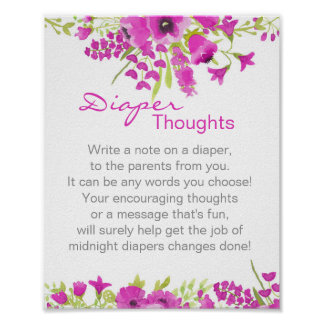 Floral Purple Diaper Thoughts Poster
