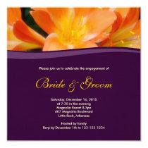 Floral Purple Engagement Invitation 13 Cm X 13 Cm Square Invitation Card