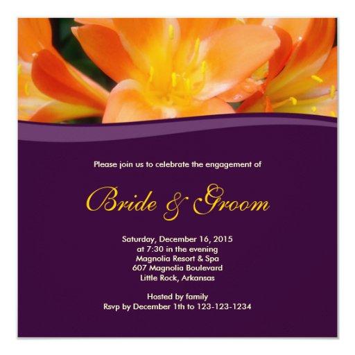 Floral Purple Engagement Invitation