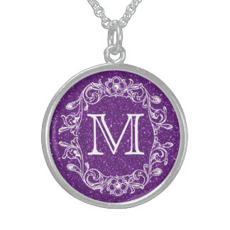 Floral Purple Glitz Monogrammed Sterling Silver Necklace