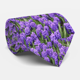 Floral Purple Hyacinth Spring Flowers Tie