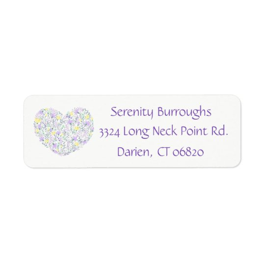 Floral Purple Lavender Heart Love Flowers Return Address Label