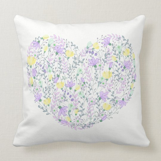 Floral Purple Lavender & Yellow Flowers Heart Love Cushion