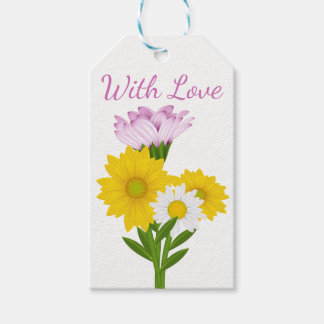 Floral Purple Love White Daisy Yellow Sunflower Gift Tags