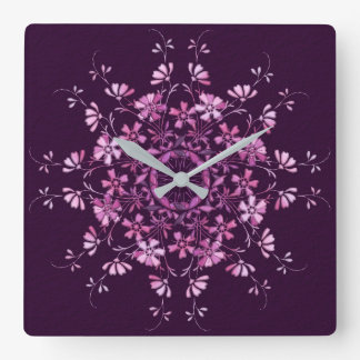 Floral purple mandala. square wall clock