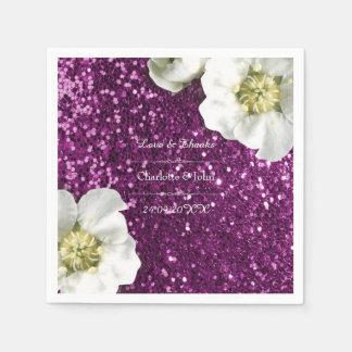 Floral Purple Pink Jasmin Thank You Custom Glitter Paper Napkin