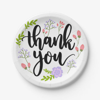 Floral Purple Pink Thank You Watercolor Flowers Paper Plate