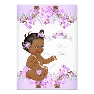 Floral Purple Princess Baby Shower Ethnic Girl 13 Cm X 18 Cm Invitation Card