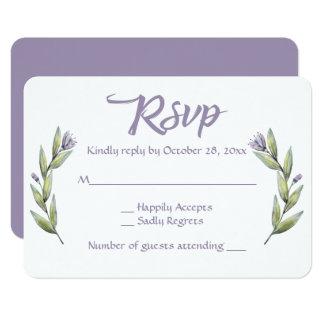 Floral Purple RSVP Watercolor Flowers Laurel Card