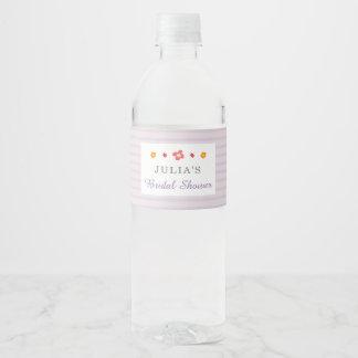 Floral Purple Stripes Bridal Shower Water Bottle Label