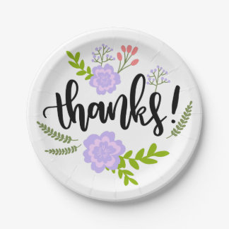 Floral Purple Thank You Watercolor Flowers Leaves 7 Inch Paper Plate