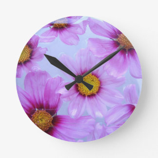 Floral Purple Violet Daisy Wildflower Clock