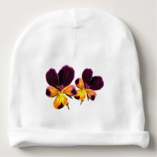 Floral Purple Yellow Flowers Baby Beanie
