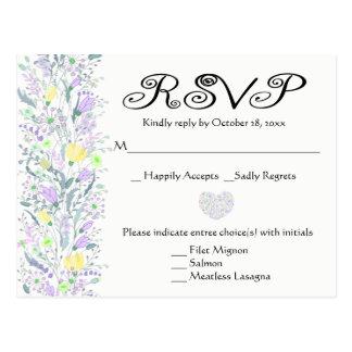 Floral Purple & Yellow RSVP Wedding Flowers Postcard