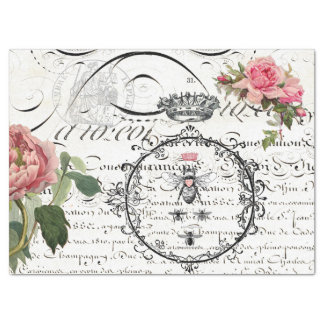 Floral Queen Bee Script Decoupage Tissue Paper