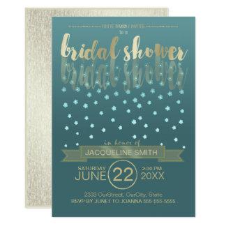 Floral Rain Bridal Shower Blue Gold ID303 Card