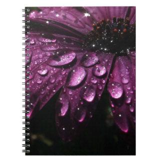 floral rain drops art design spiral notebook