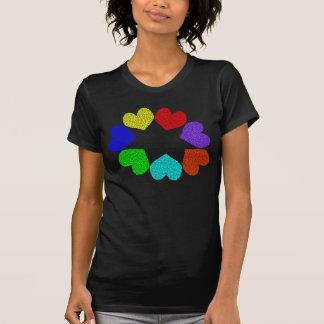 Floral Rainbow Love Hearts Ladies T Shirt