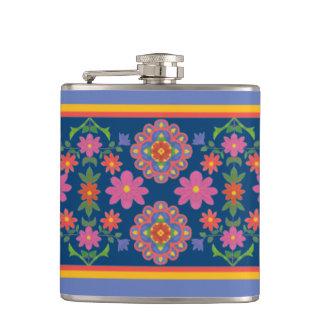 Floral Rangoli Pattern Border on Blue Hip Flask
