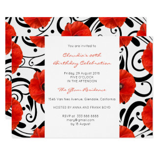 Floral Real Red Poppy Black White Baroque Card