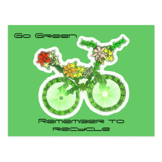 Floral Recycle Bicycle Postcard