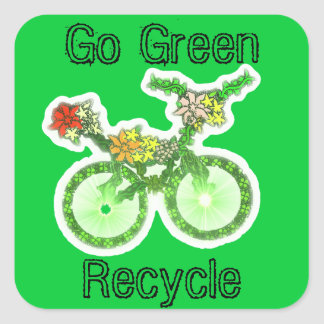 Floral Recycle Bicycle Square Sticker