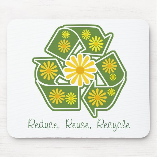 Floral Recycle Sign Mouse Mat