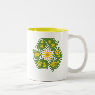 Floral Recycle Sign Two-Tone Coffee Mug